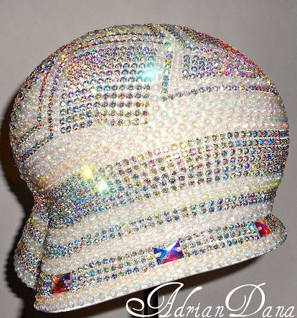 Off White Rhinestone and Pearl Hat